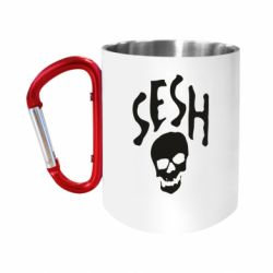 "Кружка с ручкой ""карабин"" Sesh skull"