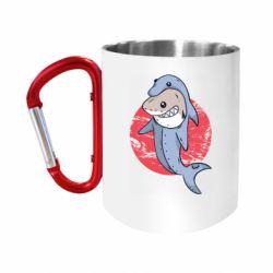 "Кружка с ручкой ""карабин"" Shark or dolphin"