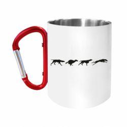 "Кружка с ручкой ""карабин"" Silhouette of hunting dogs"