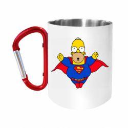"""Кружка с ручкой """"карабин"""" Simpson superman"""