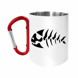 "Кружка с ручкой ""карабин"" скелет рыбки"