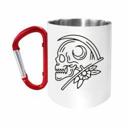 Кружка з ручкою-карабіном Skull with scythe