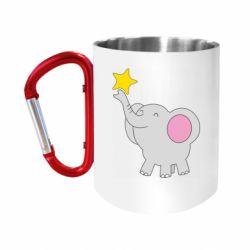 Кружка з ручкою-карабіном Слон із зірочкою
