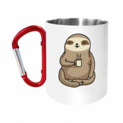 Кружка з ручкою-карабіном Sloth loves coffee