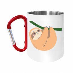 """Кружка с ручкой """"карабин"""" Sloth on a branch"""
