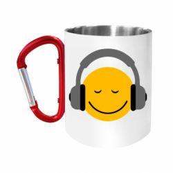 """Кружка с ручкой """"карабин"""" Smile in the headphones"""