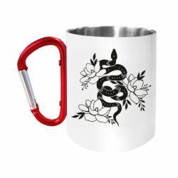 Кружка з ручкою-карабіном Snake with flowers
