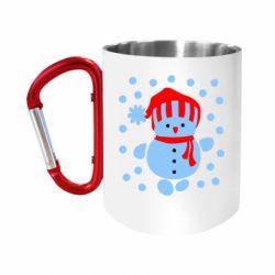 """Кружка с ручкой """"карабин"""" Снеговик в шапке"""