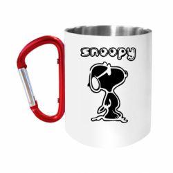 """Кружка с ручкой """"карабин"""" Snoopy"""