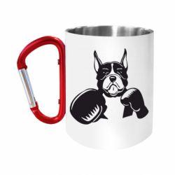 Кружка з ручкою-карабіном Собака в боксерських рукавичках