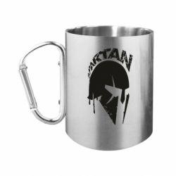 """Кружка с ручкой """"карабин"""" Spartan minimalistic helmet"""