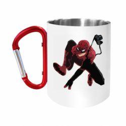 """Кружка с ручкой """"карабин"""" Spiderman flat vector"""