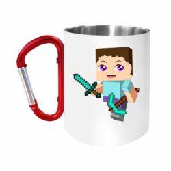 """Кружка с ручкой """"карабин"""" Steve minecraft"""