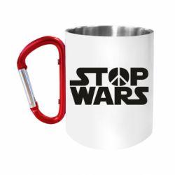 """Кружка с ручкой """"карабин"""" Stop Wars peace"""