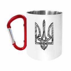 "Кружка с ручкой ""карабин"" Striped coat of arms"