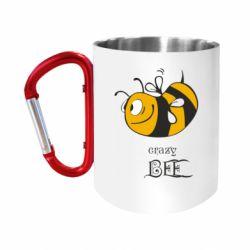 """Кружка с ручкой """"карабин"""" Сумасшедшая пчелка"""