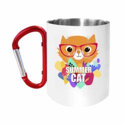 Кружка з ручкою-карабіном Summer cat