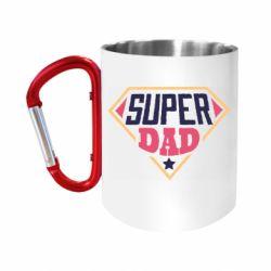 """Кружка с ручкой """"карабин"""" Super dad text"""