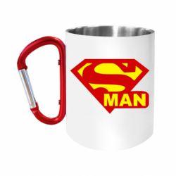 """Кружка с ручкой """"карабин"""" Super Man"""