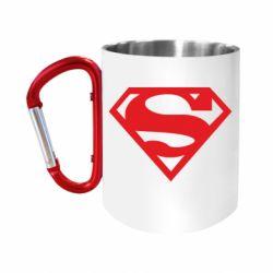 """Кружка с ручкой """"карабин"""" Superman одноцветный"""