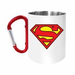"""Кружка с ручкой """"карабин"""" Superman Symbol"""