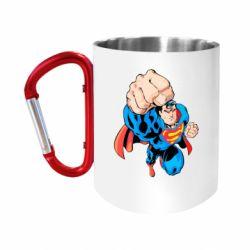 Кружка з ручкою-карабіном Супермен Комікс