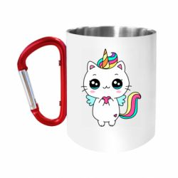 Кружка з ручкою-карабіном The cat is unicorn