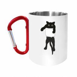 """Кружка с ручкой """"карабин"""" The cat tore the pocket"""