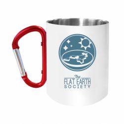 Кружка з ручкою-карабіном The flat earth society