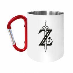 """Кружка с ручкой """"карабин"""" The Legend of Zelda Logo"""