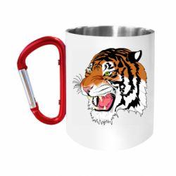 Кружка з ручкою-карабіном Tiger roars