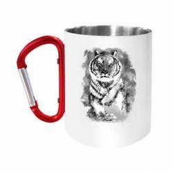 """Кружка с ручкой """"карабин"""" Tiger watercolor"""