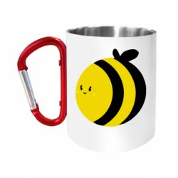 """Кружка с ручкой """"карабин"""" толстая пчелка"""