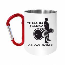 """Кружка с ручкой """"карабин"""" Train Hard or Go Home"""