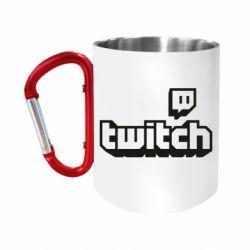 Кружка з ручкою-карабіном Twitch logotip