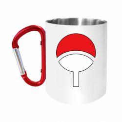 """Кружка с ручкой """"карабин"""" Uchiha symbol"""