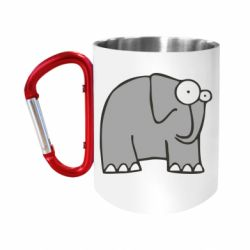 """Кружка с ручкой """"карабин"""" удивленный слон"""