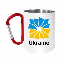 """Кружка с ручкой """"карабин"""" Ukraine квадратний прапор"""