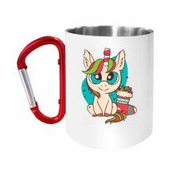 "Кружка с ручкой ""карабин"" Unicorn Christmas"