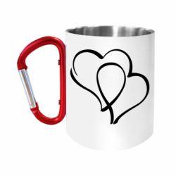 """Кружка с ручкой """"карабин"""" Влюбленные сердца"""