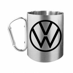 """Кружка с ручкой """"карабин"""" Volkswagen new logo"""