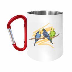 """Кружка с ручкой """"карабин"""" Волнистые попугайчики"""