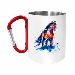 "Кружка с ручкой ""карабин"" Watercolor horse"