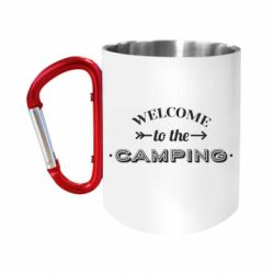 """Кружка с ручкой """"карабин"""" Welcome to the camping"""