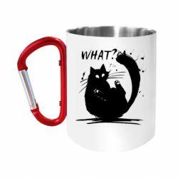 Кружка з ручкою-карабіном What cat