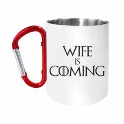Кружка з ручкою-карабіном Wife is coming