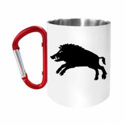 Кружка з ручкою-карабіном Wild boar