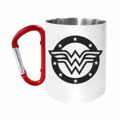 Кружка з ручкою-карабіном Wonder woman logo and stars