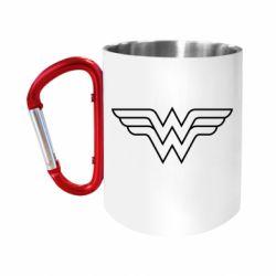 """Кружка с ручкой """"карабин"""" Wonder Woman Logo"""