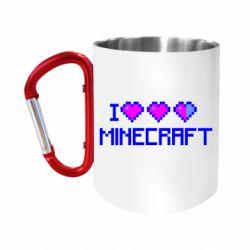 """Кружка с ручкой """"карабин"""" Я люблю Minecraft"""